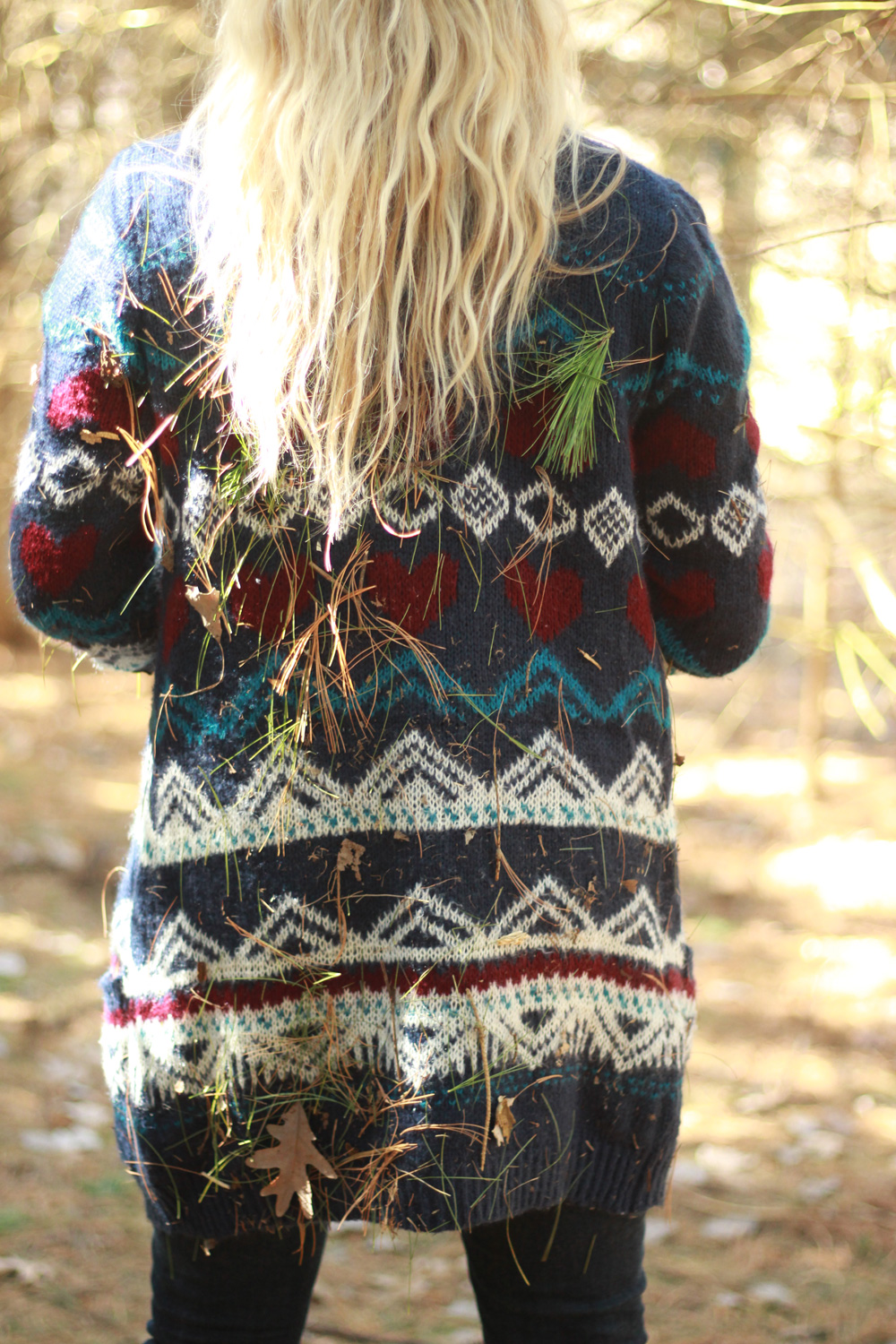pine needles and sweaters