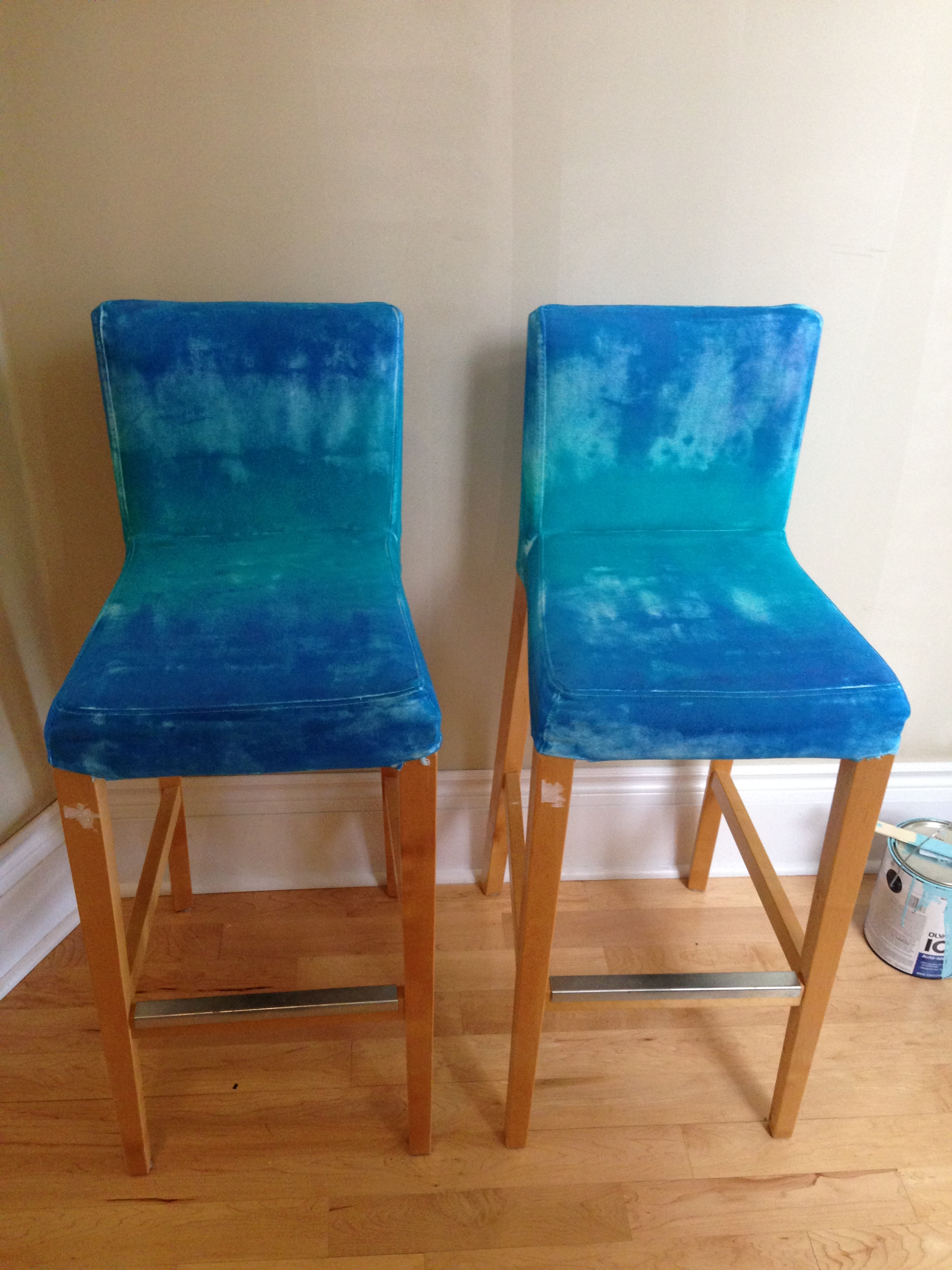 Half done tie-dye chairs
