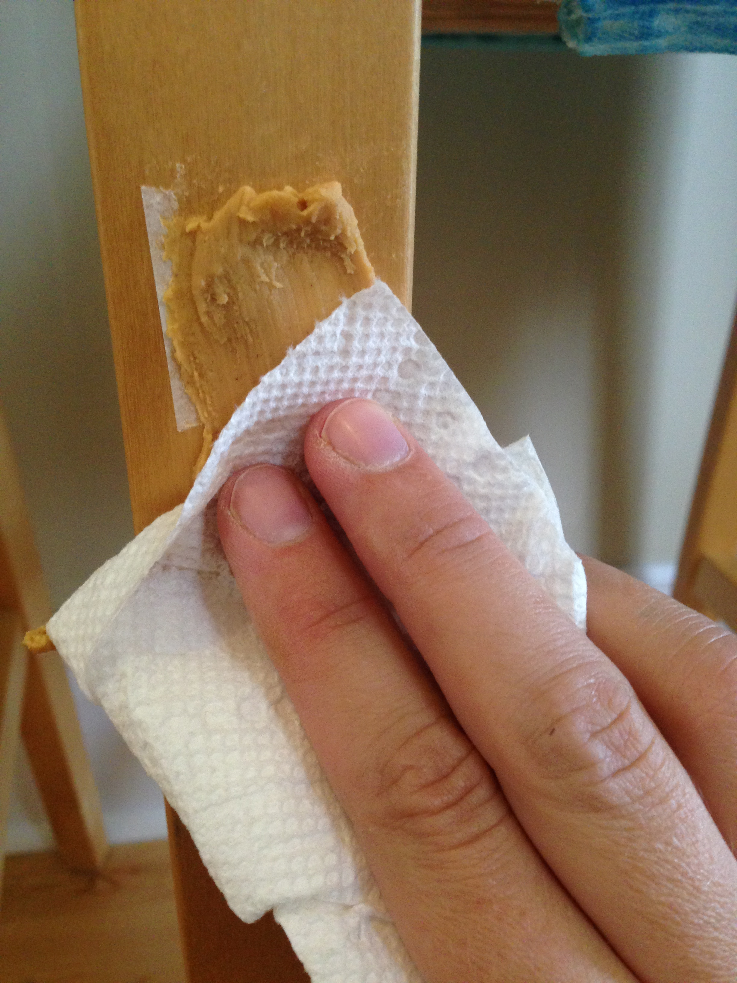 Removing sticker residue with peanut butter