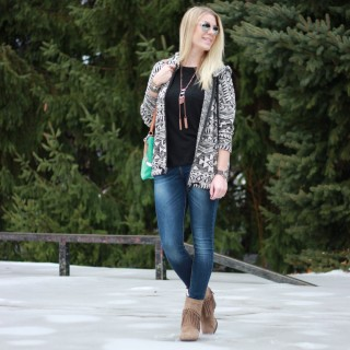 Printed Jacket + Fringed Booties