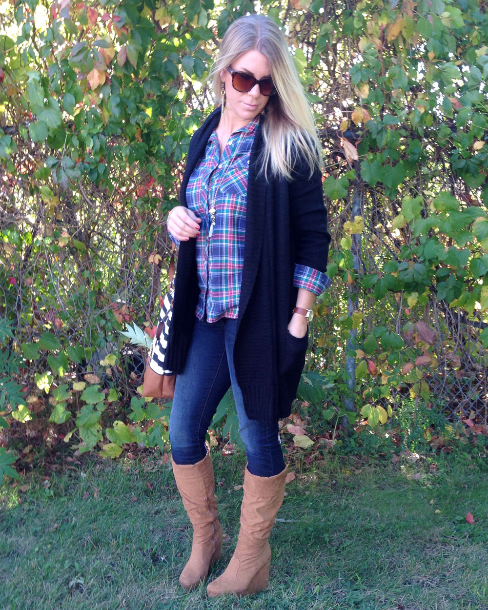 Plaid and cardigan