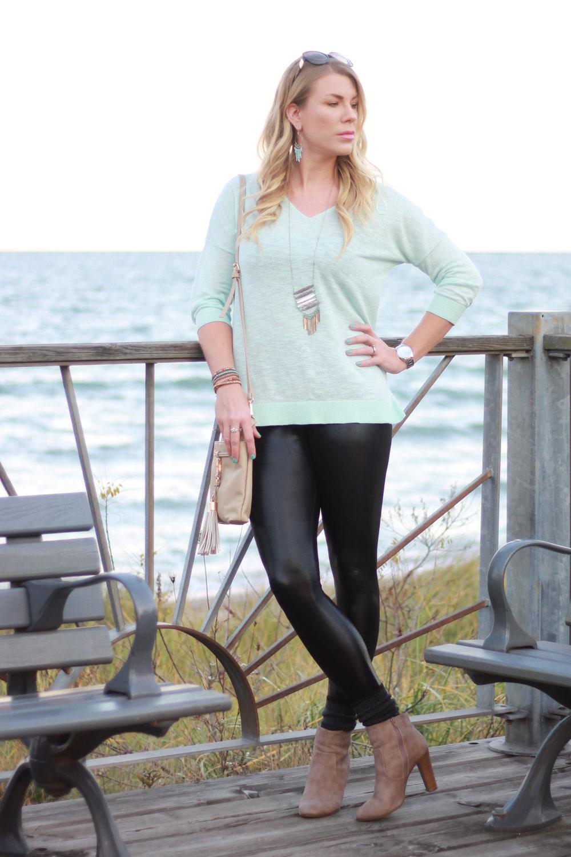 Aqua top & shiny leggings