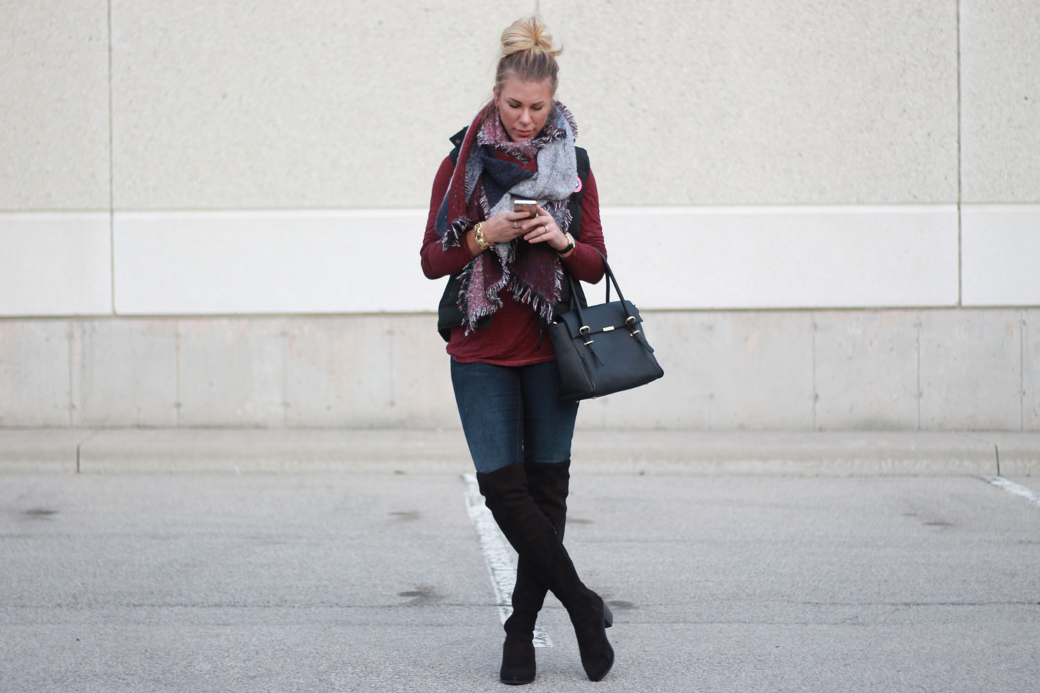 Casual topknot and boots