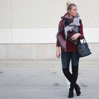 Casual Topknot and Over-The-Knee Boots