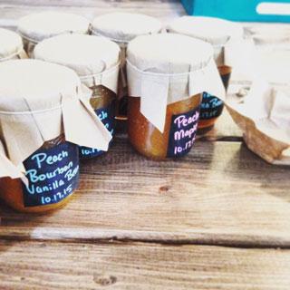 Jars of peach jam