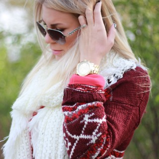 Red Cardi & Fluffy Boots