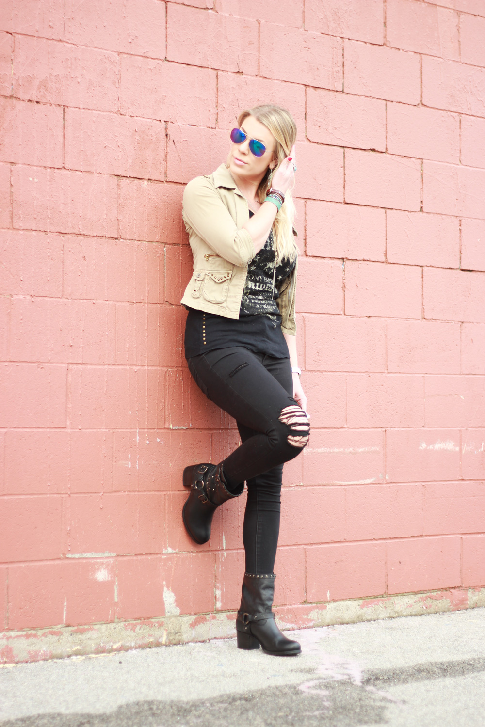 cropped jacket and studded boots