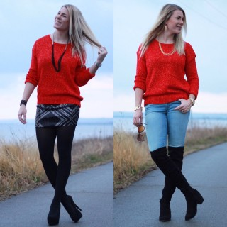 Red Christmas Sweater 2 Ways